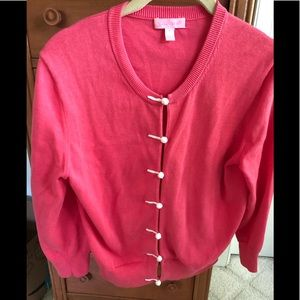 Lily Pulitzer coral cardigan/white buttons.